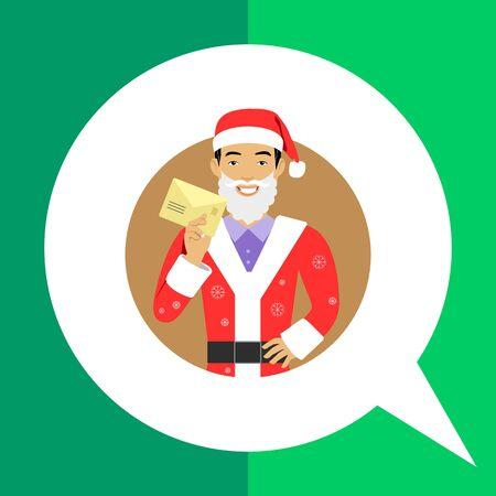 fake: Male character, portrait of smiling man wearing Santa costume and fake beard, holding letter Illustration