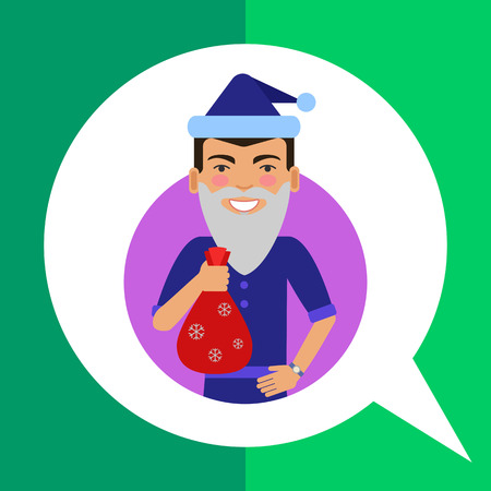fake: Male character, portrait of smiling man wearing Santa hat and fake beard, holding sack with gifts