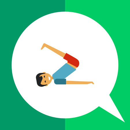 legs up: Multicolored vector icon of young man lifting legs and body up Illustration
