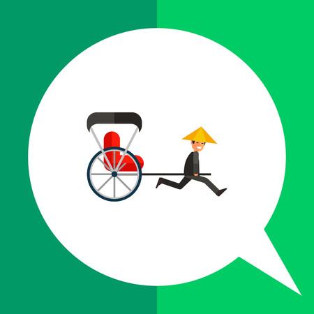 rikscha: Bild der japanischen Rikscha ziehen zweirädrigen Karren mit roten Beifahrersitz