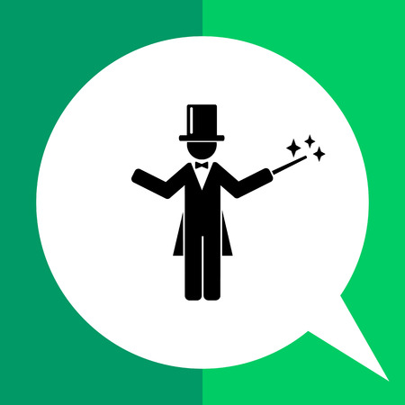 tailcoat: Man wearing tail-coat and cylinder and holding magic wand. Miracle, illusion, surprise. Magician concept. Can be used for topics like show, circus, entertainment. Illustration
