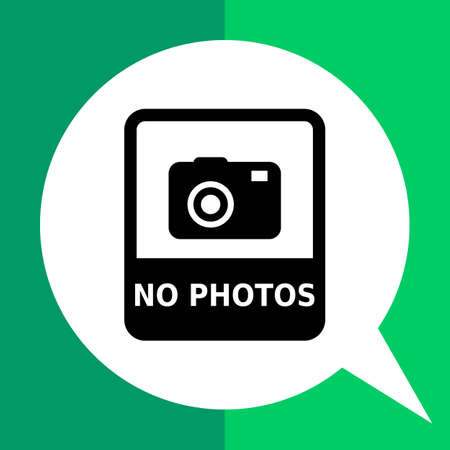 tech no: Vector icon of No photo sign depicting snapshot camera with inscription Illustration