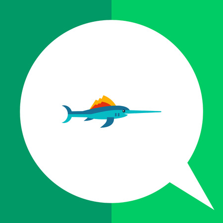Multicolored vector icon of needlefish, side view