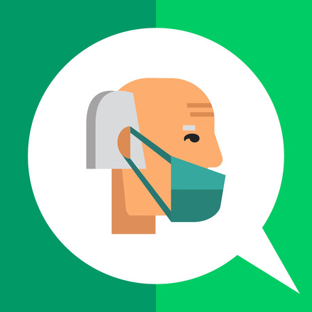 Multicolored vector icon of old man wearing medical mask
