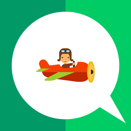 navigating: Multicolored vector icon of cartoon flying old plane with smiling pilot navigating it, side view