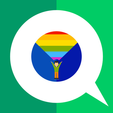 gender identity: On coming out icon. Multicolored vector illustration of male character coming out Illustration