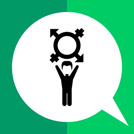 gender identity: On coming out vector icon. Black illustration of male character with transgender symbol