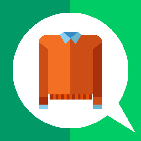 dressing: Multicolored vector icon of orange sweater and blue shirt