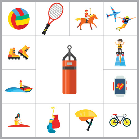 parachute jump: Active Sport Icon Set. Volleyball Tennis Racket Punchbag Horseracing Parachute Jump Flyboard Smartwatch Bicycle Helmet Boxing Gloves Canoeing Rollerblading Jet Skiing