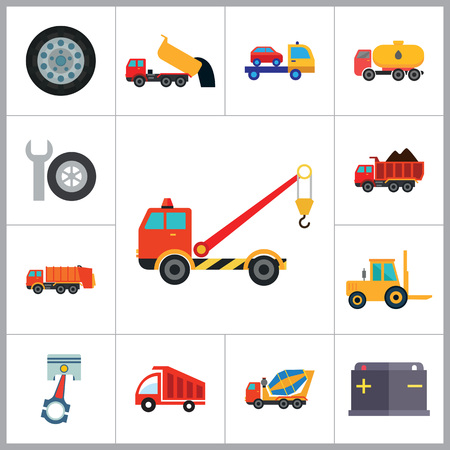 lift truck: Automotive icons set with car wheel, crane truck and fork lift truck. Thirteen vector icons