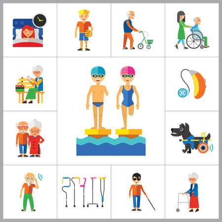hearing aid: Disabled Icon Set. Blind Crutches Deaf Hearing Aid Insomnia Walker Elderly People Old Age Sportsman With Prosthesis Nurse And Patient Amputated Limbs Disabled Dog