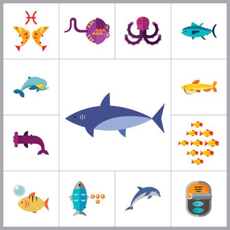 gills: Fish Icon Set. Pieces Octopus Dolphin Shark Catfish Canned Fish Tuna Fish Shoal Caviar Hammerhead Fish Sea Skate Goldfish