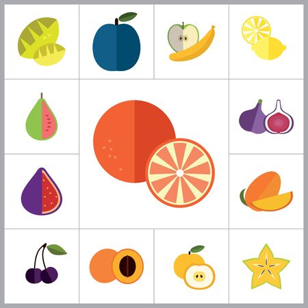 guava fruit: Fruit Icon Set. Lemon Apple And Banana Orange Melon Mango Cut Carambola Cut Fig Ripe Plum Guava Fruit Apricot Apple Bird Cherry Passion Fruit