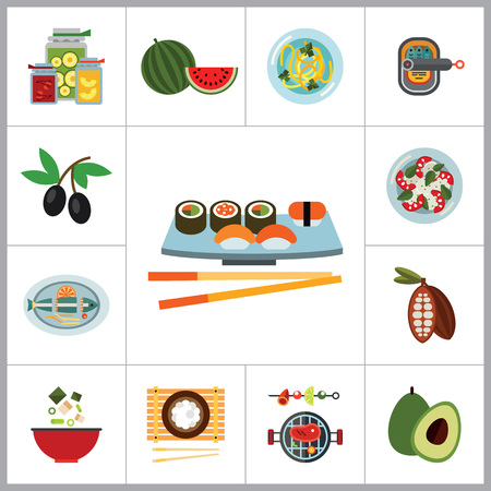 sardine: Food Icon Set. Olives Open Can With Sardines Watermelon Avocado Sushi Set Miso Soup Pasta Paella Served Fish Jam Jars Barbecue Rice