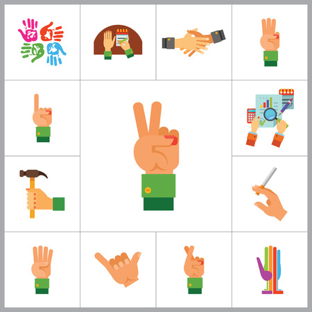 three hands: Hands Icon Set. Handprints Hand With Hammer Writing Three Fingers Up Cross Fingers Four Fingers Up Hand With Cigarette Finger Up Victory Gesture Colored Palm Drink Gesture Business Hands Handshake Illustration