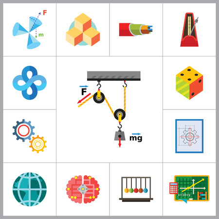 meridian: Mathematics Icon Set. Gear Wheel Drawing Metronome With Pendulum Collision Balls Globe Cubes Diagram Philosophy Symbol Logic Concept Algebra Cable Artificial Intelligence Gravity Force Illustration