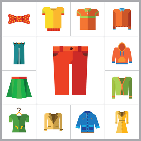 pleated: Modern Clothes Icon Set. T-shirt Jeans Bow Tie Hoody Sweatshirt Trousers Pleated Skirt Orange Sweater Coat Beige Jacket Polo Shirt Blue Raincoat Green Jacket Clothes On Hanger