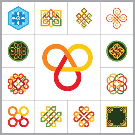 패턴 아이콘을 설정합니다. 육각형 패턴 무한 매듭 전통 매듭 중국 부적 원형 패턴 크리 에이 티브 패턴 스퀘어 패턴 영원한 매듭 장식 요소 패턴 길조