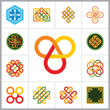 Pattern Icon Set. Hexagon Pattern Infinite Knot Traditional Knot Chinese Amulet Round Pattern Creative Pattern Square Pattern Eternal Knot Decorative Element Pattern Auspicious Symbol Endless Knot