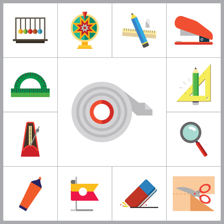 thirteen: Stationery vector icons set. Thirteen icons of collision balls, protractor, eraser and other office stationery Illustration