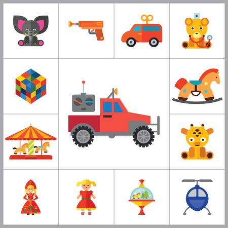 perinola: iconos de juguetes conjunto con el cubo Rubics, zapateros y elefante de juguete. Trece iconos vectoriales