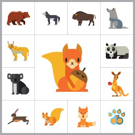 lynx: Wild Animals Icon Set. Bear Paw Trace Koala Hare Lynx Fox Squirrel Panda Squirrel With Nut Kangaroo Wolf Wisent