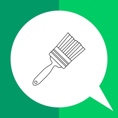 bristles: Vector icon of painting brush with bristles clumped to handle Illustration