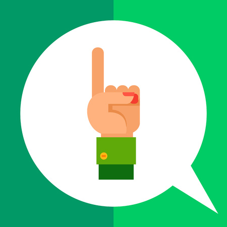 Multicolored vector icon of left hand with one finger pointing up