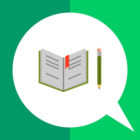 open notebook: Vector icon of open notebook and pencil Illustration