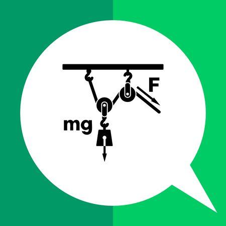 poleas: icono de vector monocromo de poleas m�viles cargados representa el concepto de la f�sica Vectores