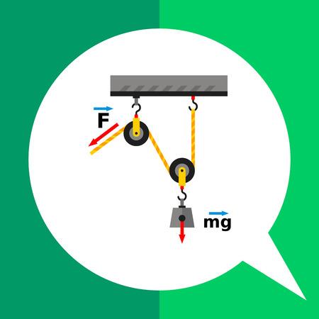 poleas: icono de vectores multicolor de poleas móviles cargados representa el concepto de la física Vectores