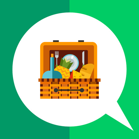con: Picnic basket flat icon. Multicolored vector illustration of basket with food for picnic