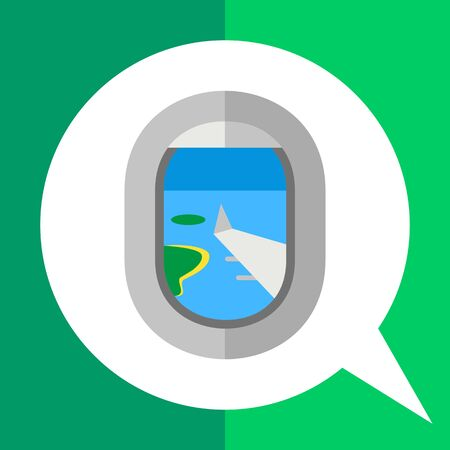 window view: Multicolored vector icon of plane window and view through it Illustration
