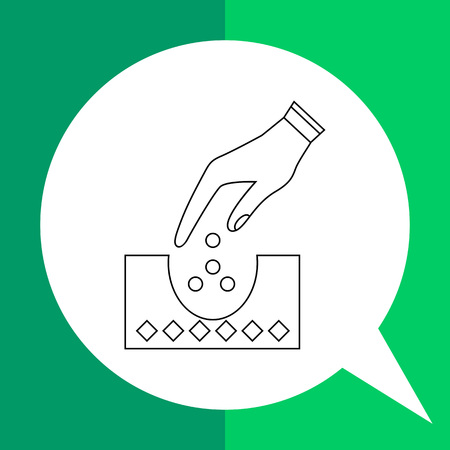seeding: Planting vector icon. Illustration of hand putting seeds into ground