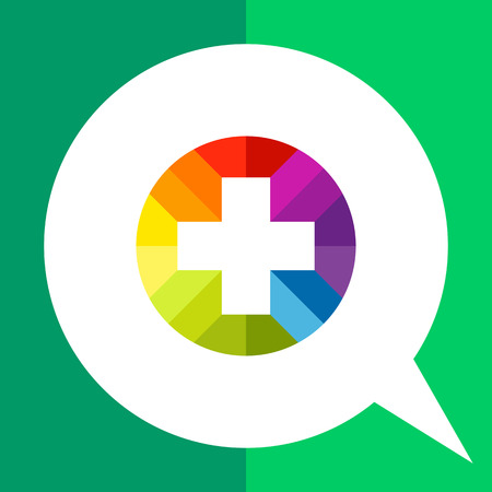 plus sign: Multicolored vector icon of plus sign in circle Illustration