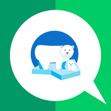 floe: Multicolored vector icon of polar bear and its cub on ice floe