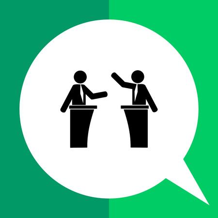 Monochrome simple icon of speakers on political debates