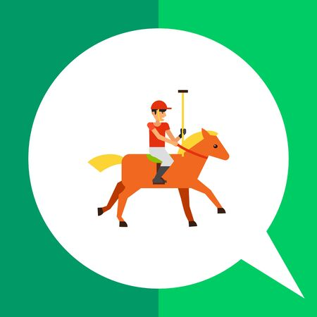 polo sport: Multicolored flat icon of polo sport player in red uniform riding brown horse
