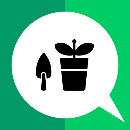 potted plant: Vector icon of potted plant with shovel