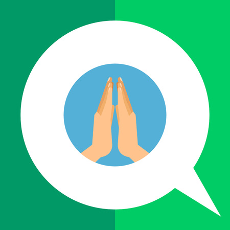 Icon of two human praying hands in blue circle