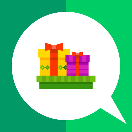 Multicolored vector icon of three present boxes with bows