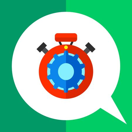 Multicolored vector icon of red stopwatch with blue gear inside representing processing concept Illustration