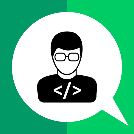 Vector icon of young man wearing glasses with code on t-shirt representing programmer