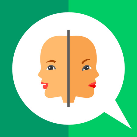 behaviorism: Multicolored vector icon of two woman faces with joy and sadness expressions representing psychology