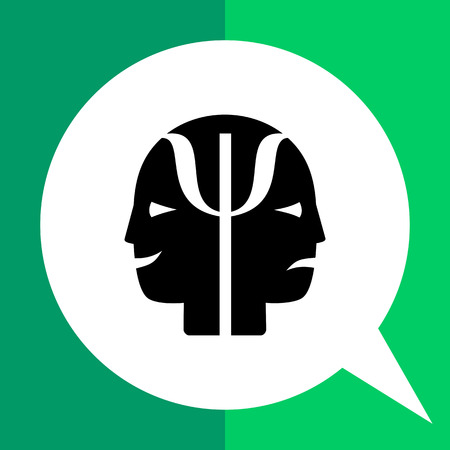 behaviorism: Monochrome vector icon of two human faces with joy and sadness expressions representing psychology concept Illustration