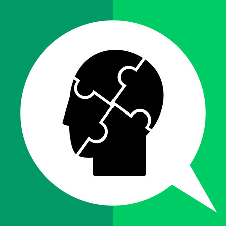 puzzled: Psychology simple icon. Black vector illustration of human head with puzzled elements
