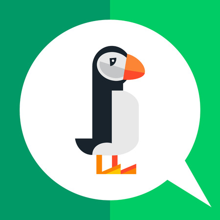 beine spreizen: Multicolored vector icon of standing puffin, side view
