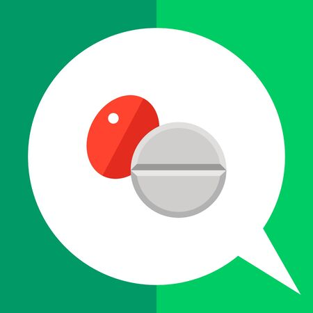 Multicolored vector icon of red oval pill and white round pill
