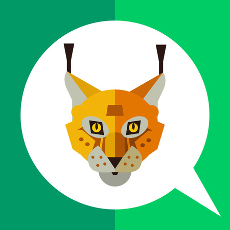 Multicolored vector icon of red lynx head