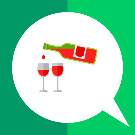 Icon of red wine green bottle and two full glasses